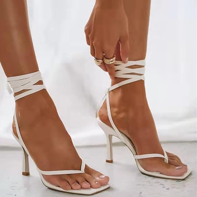 Women's Classic Fashion Heeled Summer Sandals,Formal Square Toe Stiletto Heels,Flip Flop Heels Thong Sandals Slides,Strappy Open Toe Dress Wedding Party Elegant Heeled Sandals Black, White