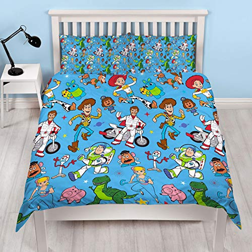 Official Toy Story 4 Double Duvet Cover Rescue Design | Reversible Two Sided Bedding Duvet Cover Featuring Woody & Buzz Lightyear With Matching Pillow Cases