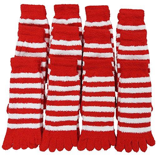 RSG Hosiery Women's Plush Fuzzy Toe Socks 12-Pack (Red/White Stripe)