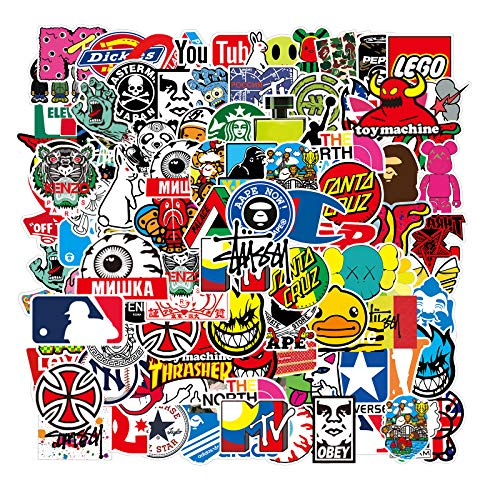 Cool Brand Stickers 100 Pack Decals for Laptop Computer Skateboard Water Bottles Car Teens Sticker