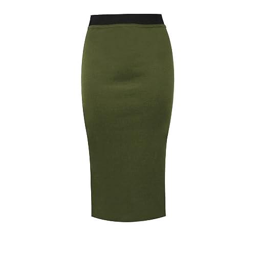 9d93e3e7e83ad Unbranded New Ladies Women s MIDI Pencil Skirt Plain Bodycon Stretch Jersey  Office Skirt Size ...