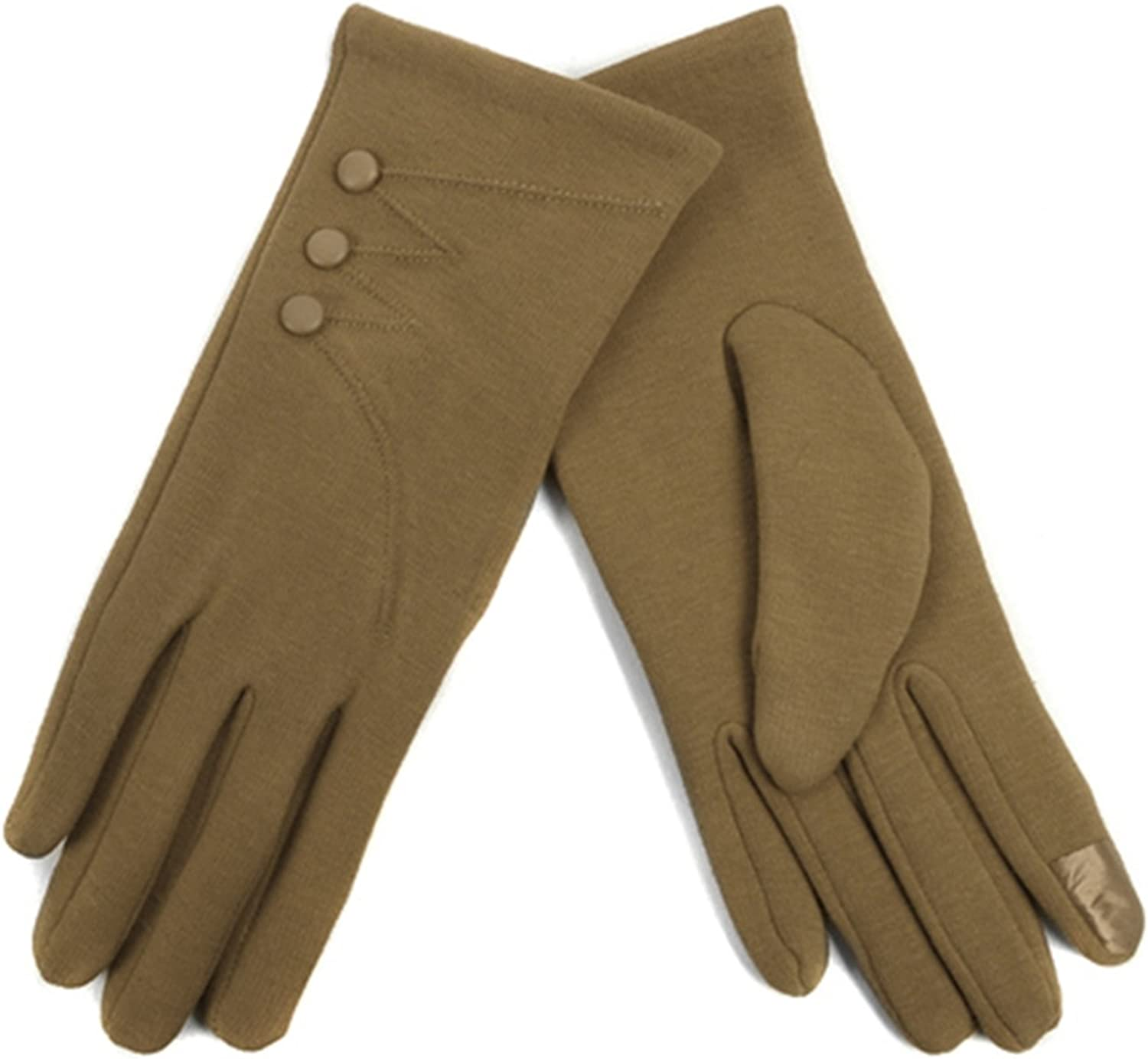 Women's Light Brown Stylish Touch Screen Gloves W Button Accent Fleece Lining SM
