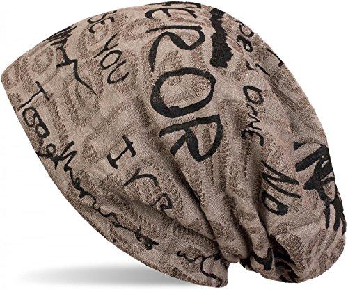 styleBREAKER Beanie Mütze mit Schrift Muster im Destroyed Vintage Design, Slouch Longbeanie, Unisex 04024074, Farbe:Braun