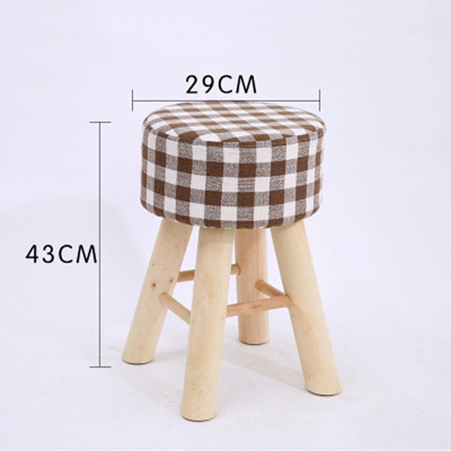 Footstools Living Room Solid Wood Table and Stool Adult Fabric Fashion Bench Household high Stool 29  43cm (color   L)
