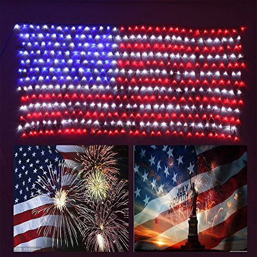 DINGFU Upgraded Low Voltage Led Flag Net Light,6.5ft3.2ft Waterproof American US Flag String Light with 416 Bright LEDs for Independence Day,Memorial Day,Festival,Garden,Indoor and Outdoor