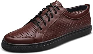 ZUAN Fashion Outdoor Sneakers for Men Casual Flat Running Walking Shoes Lace Up Genuine Leather Summer Breathable Perforated Elegant Comfortable Shoes