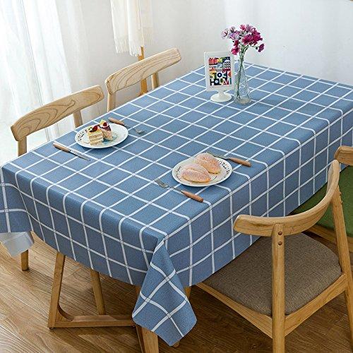Alicemall Nappe pvc Rectangulaire Bleue Nappe Résistante Nappe Imperméable Anti-tache Nappe 140x220 Linge de table Couverture de Table(18)