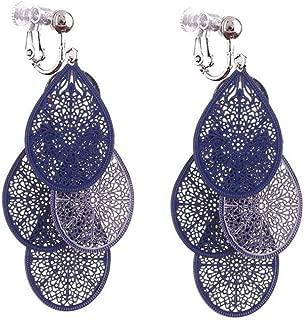 Grace Jun New Handmade Multi-layer Clover Water Drop Shape Clip on Earrings No Pierced for Women