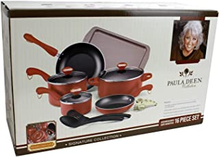 Paula Deen Signature Dishwasher Safe Cookware Sets (Pink, 15- Piece)