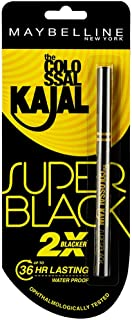Maybelline New York New The Colossal Kajal - Super Black (2X Blacker) Waterproof 16Hours Intense.