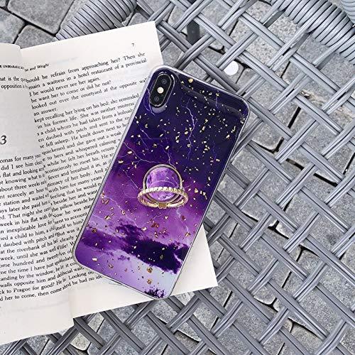 SFJUL telefoonhoes voor goudfolie bling marmer telefoonhoes voor iPhone xr xs max x vingerring standaard afdekking case voor iPhone 6s 7 8 Plus Shell Bag Coque, For iphone 6plus 6sp, Dieppaarse ring
