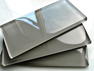 3x6 Cool Gray Subway Clear Glass Tile Backsplash Wall (SOLD BY THE PIECE)