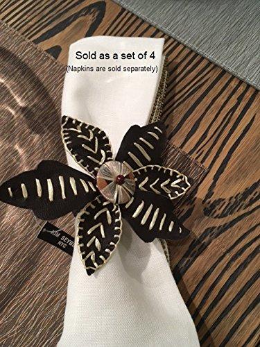 Kim Seybert Brown Raffia Leather Napkin Rings - Set of 4
