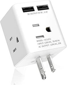 Multi Plug Outlet Extender with 2 Smart USB Ports 4 AC Sockets, SUPERDANNY Wall Charger Electrical Outlet Splitter Expander with Safety Outlet Covers for Home, Travel, Dorm and Office, White