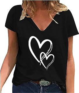 Riou T-Shirt da Donna con Scollo a V Allentato Moda Casual, Maglietta a Maniche Corte con Stampa Amore,Top con Stampa di G...
