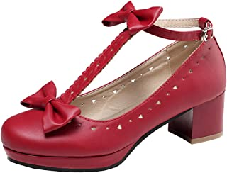 getmorebeauty Women's Vintage Shoes Mary Jane T-Straps Heels with Bows Date Shoes