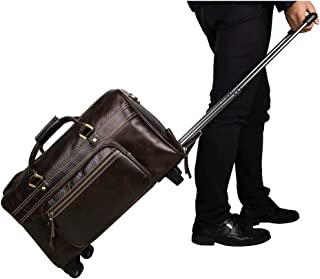 Rolling Duffel Bag Mens Genuine Leather Overnight Travel Overnight Weekender Bag Luggage Carry On Airplane