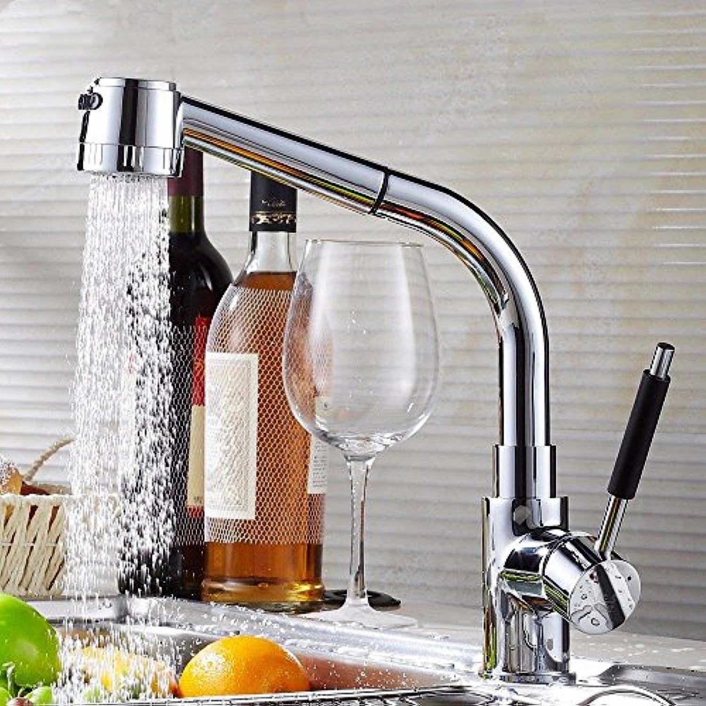 QIMEIM Küchenarmatur Wasserhahn Küche Ausziehbarer, heier und kalter Messingkrper, drehbar Mischbatterie Küchenwasserhahn Spültischarmatur Spülbecken Armatur