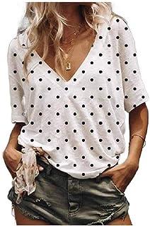 Mfasica Womens Plus Size Leisure Round Neck Printed Blouse Tees Shirt