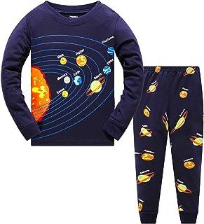 Boys Pajamas Space 100% Cotton Cute Toddler Pjs Set 2 Piece Sleepwear Kids Clothes Set 3t-10t