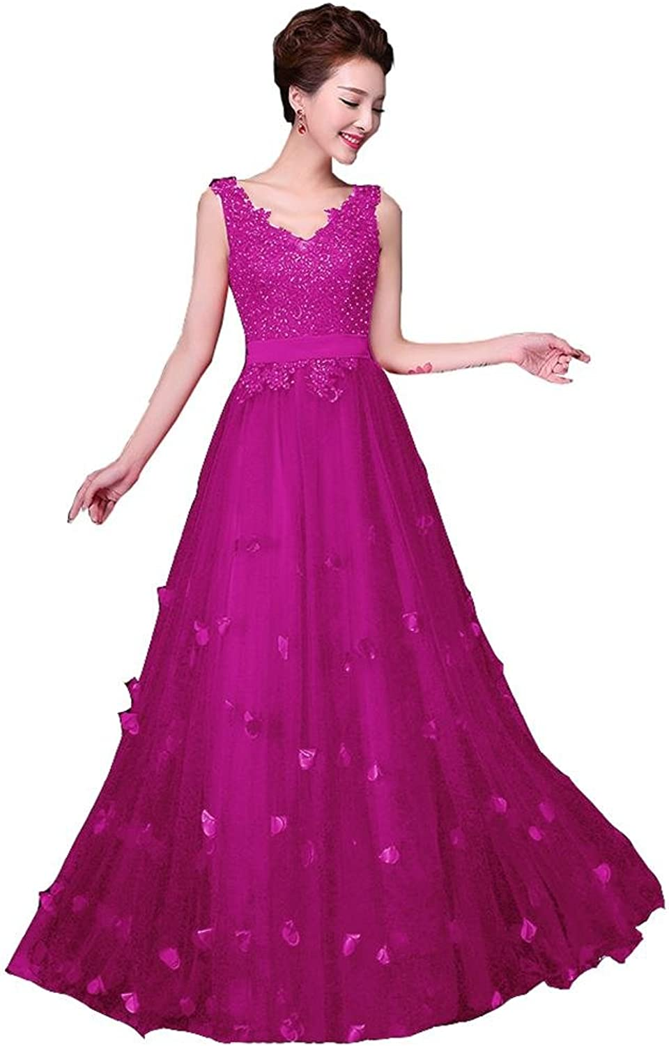 BeautyEmily Sleeveless Flowers Double VNeck LaceUp Evening Dress