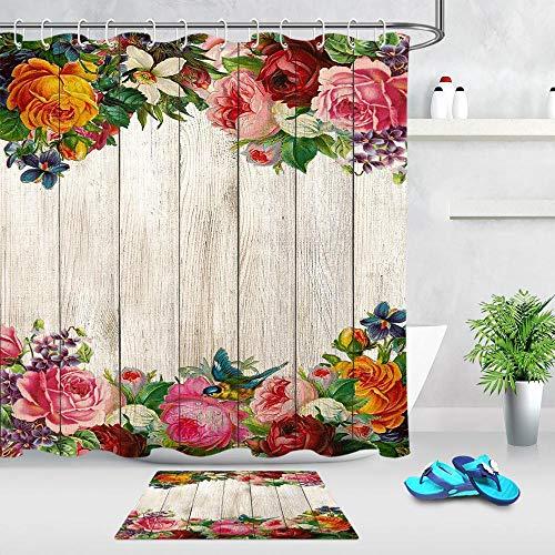 Yhjdcc Wasserdichter Duschvorhang f¨¹r Badezimmer Fr¨¹hlingsblume Blumen Holzbrett Druck Badewanne Vorh?nge Polyester Stoff Vorhang 180cmx180cm