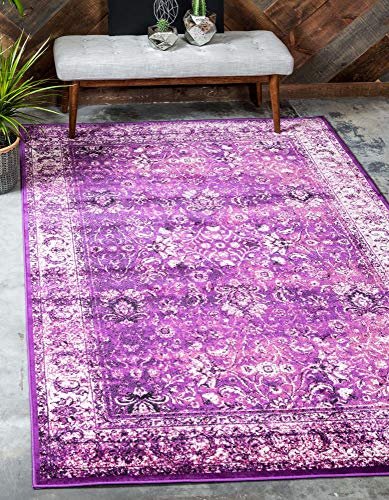 Unique Loom Imperial Modern Traditional Vintage Distressed Area Rug, 2 x 3 Feet, Lilac/Ivory
