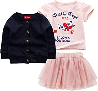 Mud Kingdom Girls Outfits Cute Bunny Easter T-Shirt and Skirt Overalls