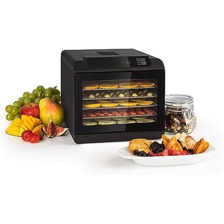 KLARSTEIN Arizona Jerky - Déshydrateur, Fruits, séchoir à viande, 500W, 35 à 70°C, 6 grilles de stockage lavables en machine, Séchage court - noir
