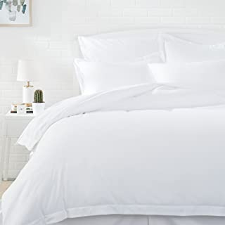 AmazonBasics Light-Weight Microfiber Duvet Cover Set with Snap Buttons - Full/Queen, Bright White