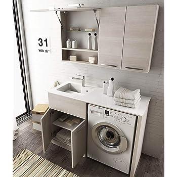 Dafnedesign Com Meuble A Linge Porte Machine A Laver Avec Etageres Et Miroir Dimensions L