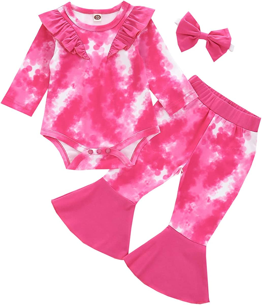 Coralup Sales Baby Girls Tie Dye Ruffle Outfits Limited time for free shipping Rompe 3PCS Bell-Bottom