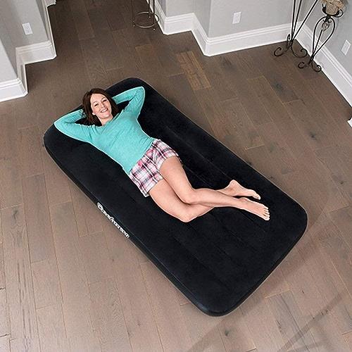 MOM Lit gonflable noir Builtin d'oreiller d'air matelas augmentant le lit d'air campant extérieur de ménage épaississant le Portable avec le lit gonflable de pompe intégrée,188X99X30cm