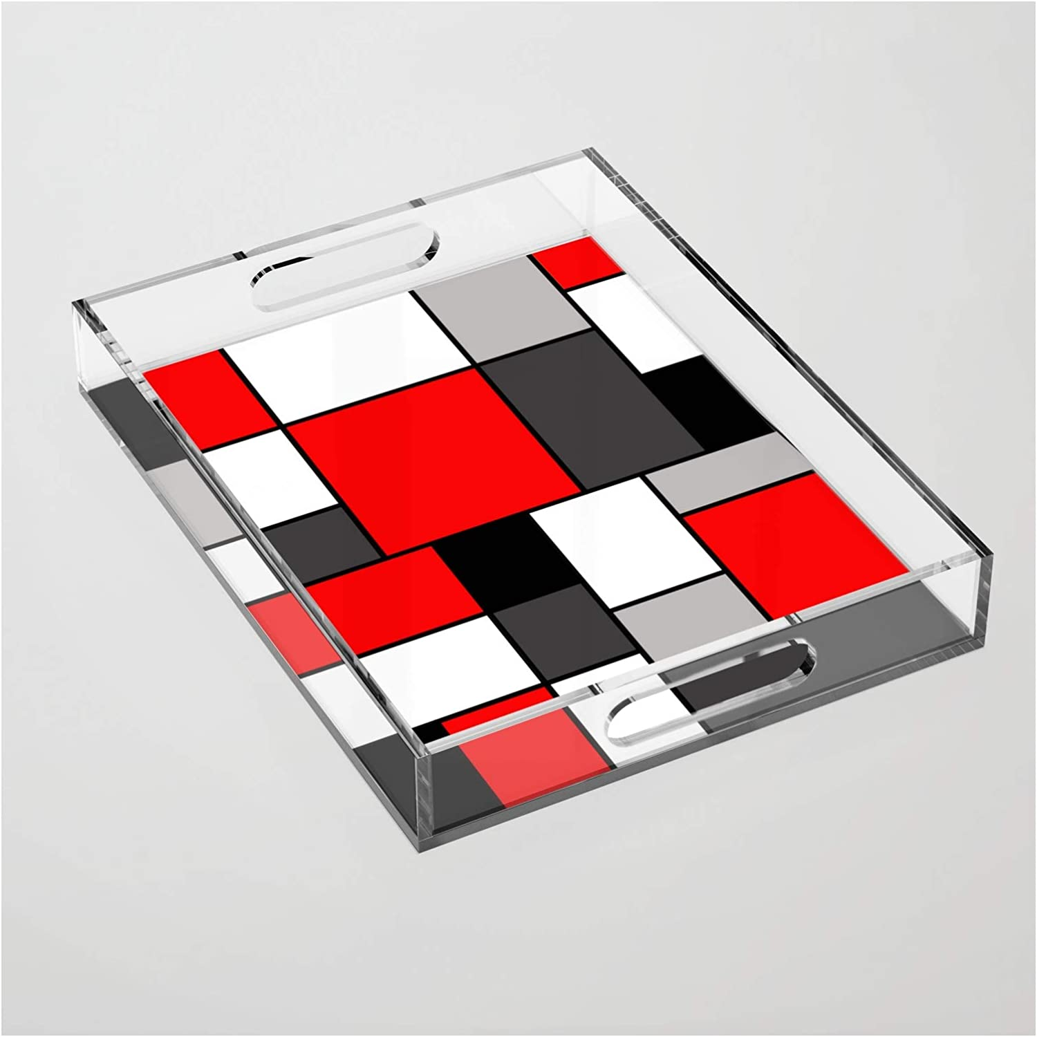 Red Black and Grey Squares by Efratul Acrylic Serving Tray Super beauty product restock Popular overseas quality top on -