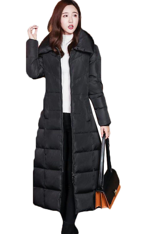 SHUNYI レディースダウン ダウンジャケット 軽量 ラダウン コート 厚手 大きいサイズ 秋冬 シンプル 中綿ジャケット ブラック ひざコート