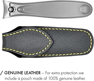 8cm Large Nail Clippers 4712 FINOX Surgical Stainless Steel Toe Nail Cutter German Nails Trimmer in Leather GERmanikure Solingen