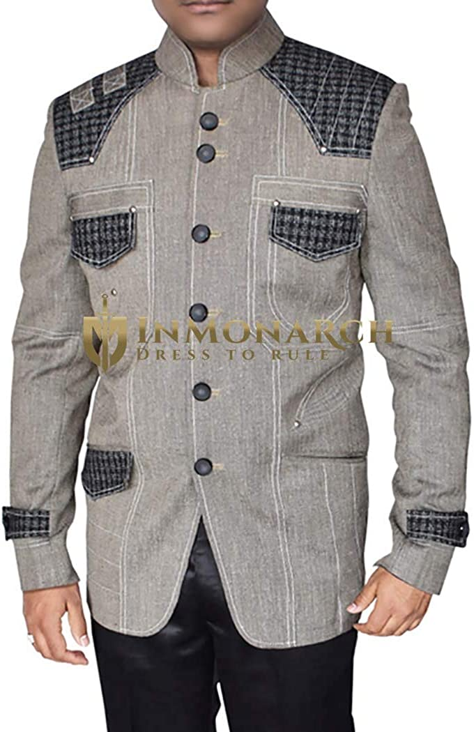 INMONARCH Mens Gray Blazer Superb Traditional Designer NJ10301XL54 54 X-Long Dark-Gray
