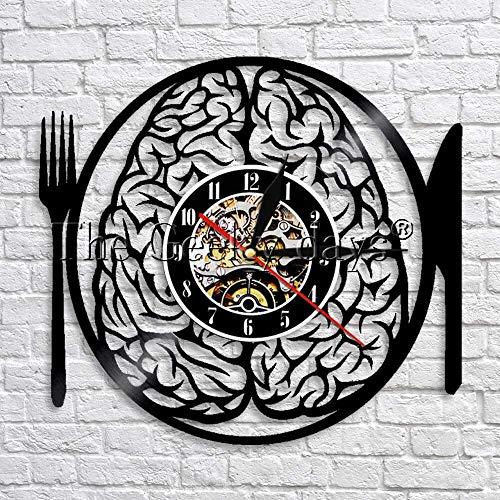 FDGFDG Essen Sie Nicht Mein Gehirn Gabel Messer Wanduhr modernes Design Retro Vinyl Uhr LED Wanduhr Wohnzimmer Wandkunst Dekoration