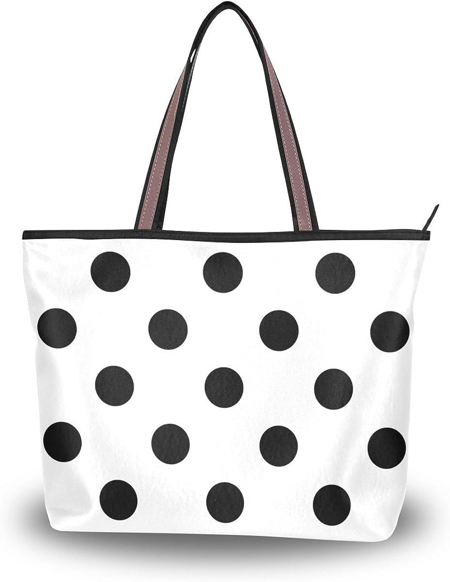 Cooper girl Black White Polka Dot Tote Bag Top Handle Handbag Shoulder Bag Large Capacity