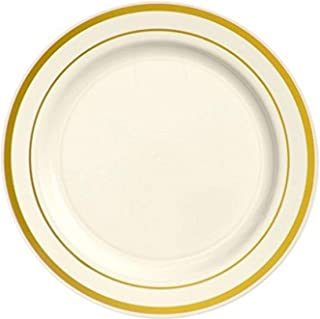 """Amscan Party Tableware, Premium Plastic Round Plates with Gold Trim, Party Supplies, Cream, 7 1/2"""", 20ct"""