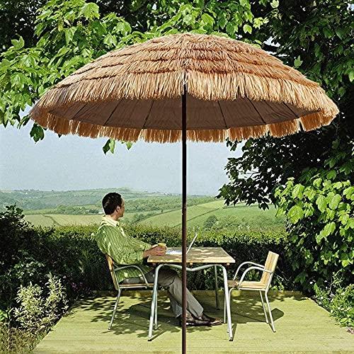 YRRA-Strandschirm-Regenschirm strohartiger runder Regenschirm-Drubel-Regenschirm Garten-Terrasse-Tisch-Regenschirm 250cm (98in) im Freien Regenschirm