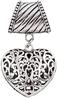 OutletBestSelling Pendant Bracelet Scarf Silver Pewter Filigree Heart Slide Scarves