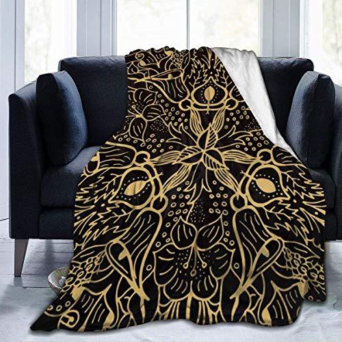 AEMAPE Manta con Estampado de Flores Vintage Amarilla, Ligera, súper Suave, Mantas de Microfibra, Que se adaptan al sofá, Cama, Sala de Estar, sofá, Silla 50x40in