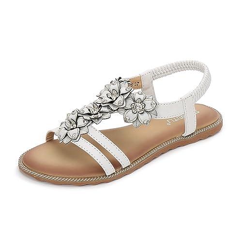 9e557b95a38907 Meeshine Women T-Strap Beaded Flower Gladiator Flat Dress Sandals Beach  Shoes