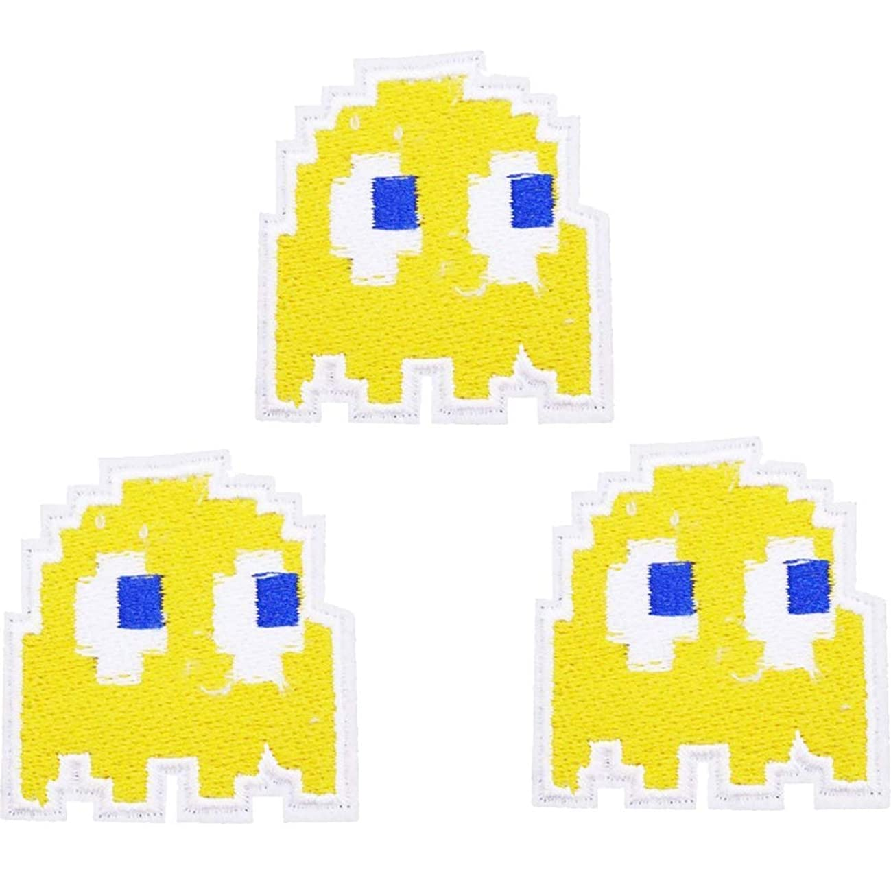 U-Sky Sew or Iron on Patches for Kids Clothing - Yellow Pac Man Patch for Jeans, Jackets, Backpacks, Hats, Caps - Pack of 3pcs - Size: 1.8x1.7 inch