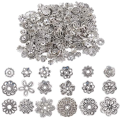 JNCH 100g Coppette Perline Tibetano Argento Accessori per Creazione Gioielli Fai da Te Orecchini Collana Bracciali Monili Ciondoli Perle (Circa 200pz)