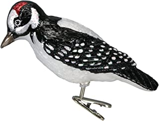Old World Christmas Ornaments: Hairy Woodpecker Glass Blown Ornaments for Christmas Tree