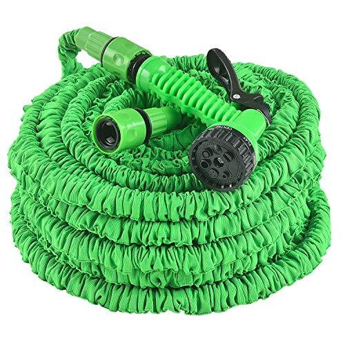 Juskys Flexibler Gartenschlauch Aqua mit Handbrause | 45 m | Adapter 1/2 Zoll & 3/4 Zoll | grün | Wasserschlauch Flexschlauch Schlauch Garten dehnbar
