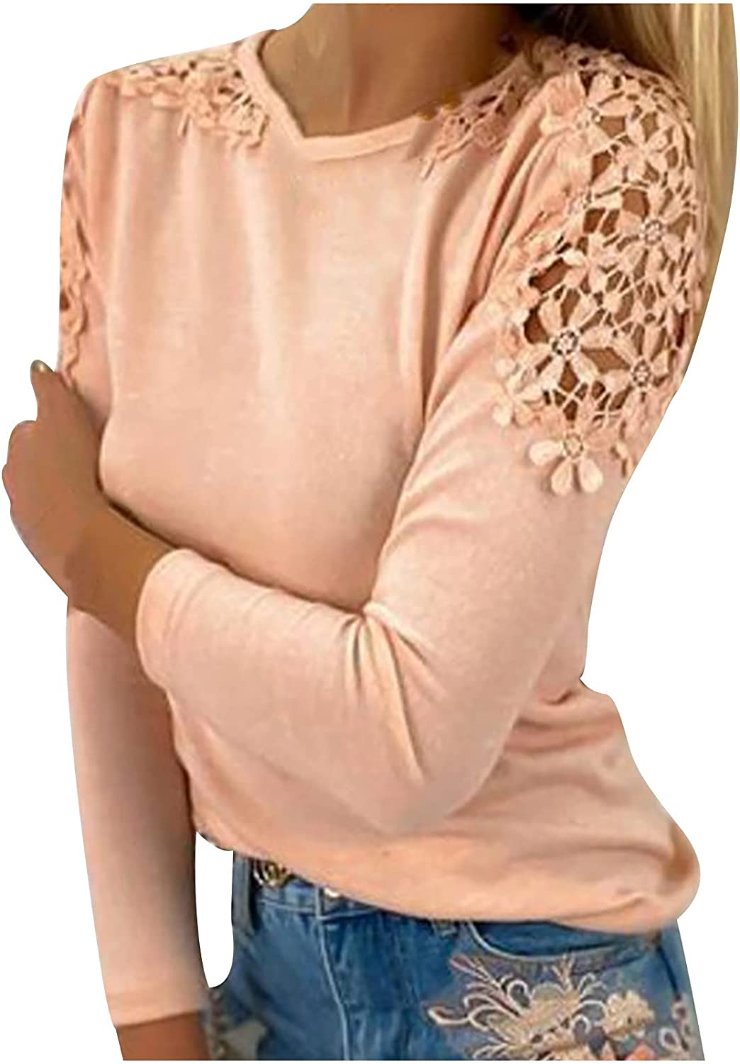 Lace Hollow T-Shirts for Women Elegant O-Neck Fitted Tee Blouse Comfy Lightweight Casual Top Blouse