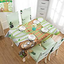 SLLART Rectangle Tablecloth Cotton Kids Activity,Curious Monkey Trying to Reach The Banana Maze Design Pathway Funky Forest, Multicolor W52 xL70,for Spring